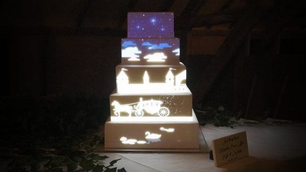 Product ID 491 Fairytale Horse and Carriage cake mapping video content being projected on a cake.