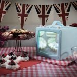 Projection mapped television cake of Great British Bake Off