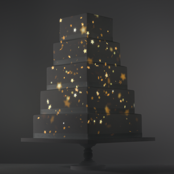Falling Gold Stars video template projection mapped on a cake