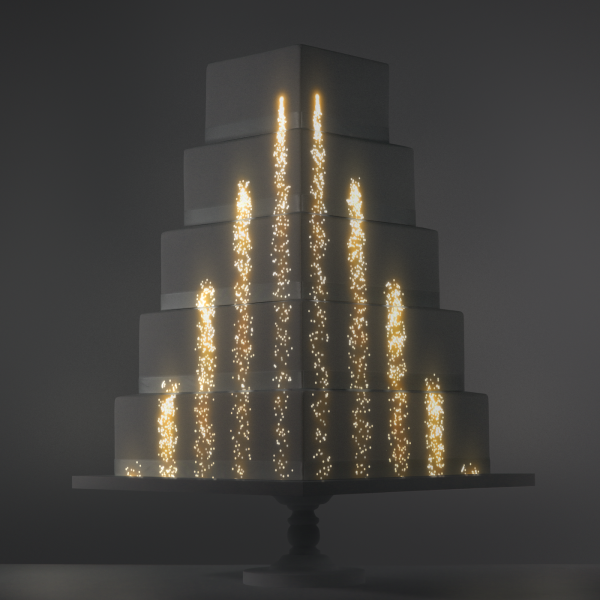Gold Fountain video template projection mapped on a cake