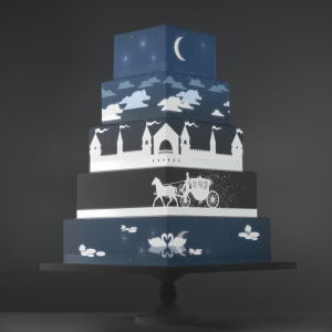 Horse and Carriage video template projection mapped on a cake