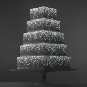 Quick Cascade video template projection mapped on a cake