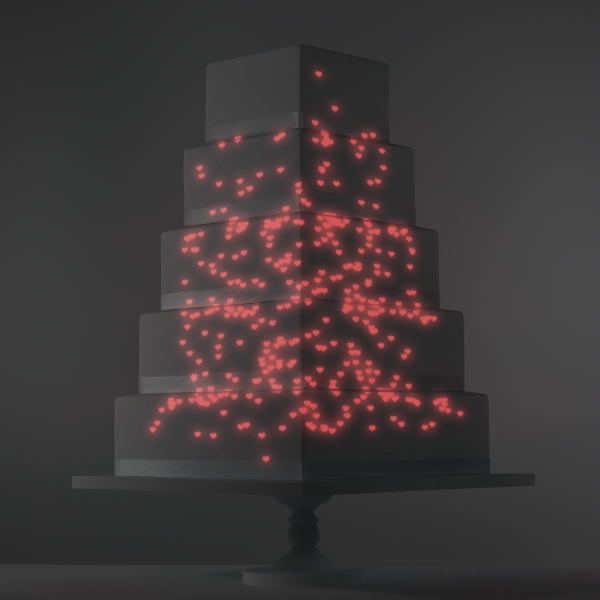 Red Hearts Rising video template projection mapped on a cake