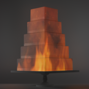 Rising Flames video template projection mapped on a cake