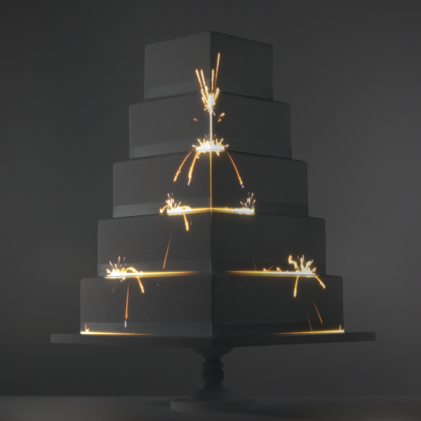 Sparkler Chain Reaction video template projection mapped on a cake