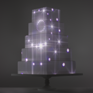 Star Tunnel video template projection mapped on a cake