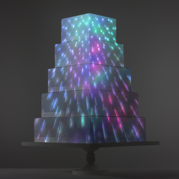 Mirrorball Reflection video template projection mapped on a cake